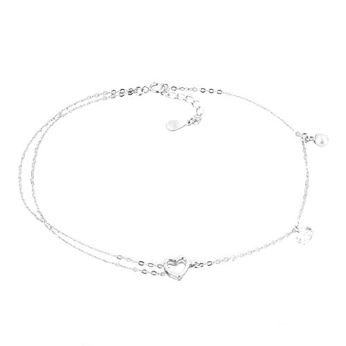 Man Made Pearl (Charmed Craft Bling 925 Sterling Silver Cute Sexy Heart Crystal Anklets Beach Double Chain Man-made Pearl)