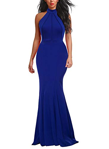 Berydress Women's Mermaid Dress Halter Maxi Long Prom Evening Formal Dresses (M, 6075-Royal Blue)