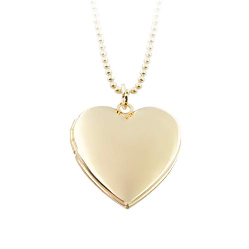 (Power Wing Heart Locket Necklace That Holds Pictures,Gold Plated Memory Photo Lockets,Mom Gifts from Daughter Son )