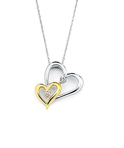 14K Two-Tone Gold Diamond Accent Double Heart Pendant Necklace, 18