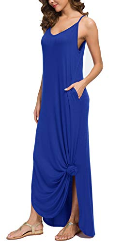 39737f69e6 GRECERELLE Women's Summer Casual Loose Dress Beach Cover Up Long Cami Maxi  Dresses with Pocket