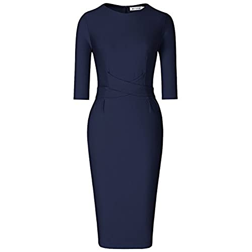MUXXN Women's Elegant 3/4 Sleeve Slim Office Pencil Dress(XL,Blue1)