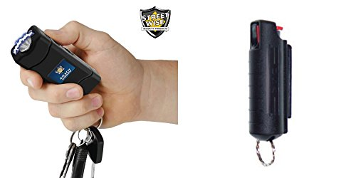 S.M.A.C.K. 6 Million Volt Keychain Stun Gun - Self Defense Bundle- Includes Free 15% Keyring Pepper Spray (Black) Six Gun Bundle
