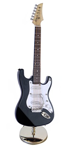 Broadway Gifts Black Electric Guitar Miniature Replica W/Case Musical Music Instrument Decor Gift