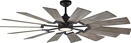 - Monte Carlo 14PRR62AGPD Protruding Mount, 14 Light Grey Weathered Oak Blades Ceiling fan with 15 watts light, Aged Pewter