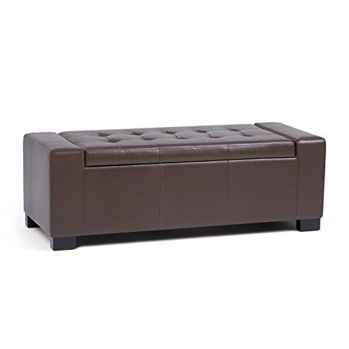 Bench Chocolate - Simpli Home Laredo Large Storage Ottoman Bench, Chocolate Brown