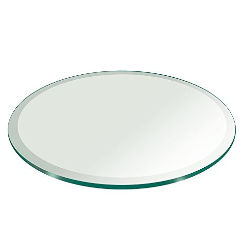 "26"" Inch Round Glass Table Top 1/2"" Thick Tempered Beveled Edge by Fab Glass and Mirror"
