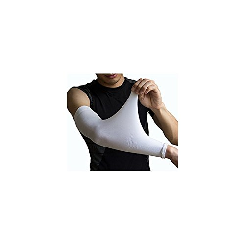 YISEVEN Sports Medium Compression Arm Sleeves for Baseball Basketball Golf Accessories Football Cycling Tattoo – Men & Women White (1 Pair)