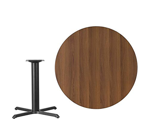 - Wood & Style Furniture 42'' Round Walnut Laminate Table Top with 33'' x 33'' Table Height Base Home Office Commerial Heavy Duty Strong Décor
