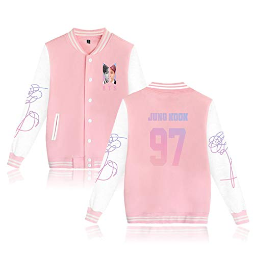 Aopostall Kpop BTS Love Yourself Baseball Jacket Uniform Jung Kook J Hope V Suga Jin Jimin Rap Monster Unisex Sweatshirt Sweater Coat (Pink Jungkook, M)