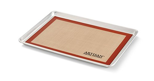 Artisan 2-Piece Professional Baking Set with Half-Size Cookie Sheet Pan and Silicone Baking Mat with Red Border by...
