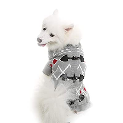 KOOLTAIL Horn Button Dog Sweater for Small to Large Dogs Cute Pet Clothes for Puppy Grey from Best4cat
