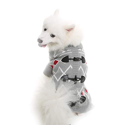 KOOLTAIL Horn Button Dog Sweater for Medium Dogs Cute Pet Clothes for Winter, Grey M For Sale