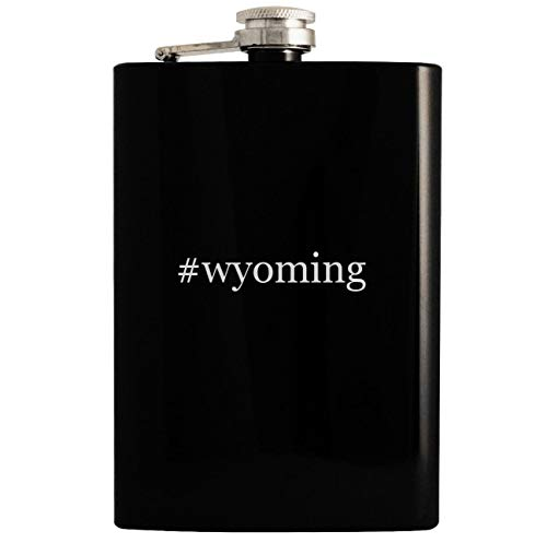 #wyoming - 8oz Hashtag Hip Drinking Alcohol Flask, Black