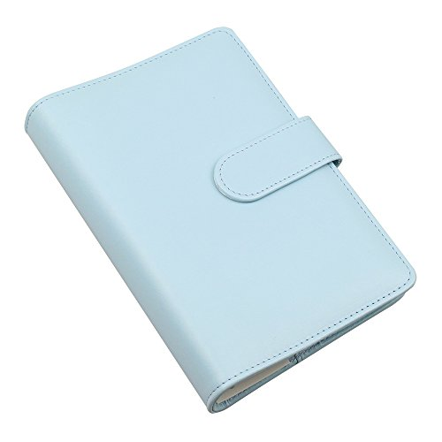 A6 PU Leather Notebook Cover,Refillable 6 Round Ring Binder Cover for A6 Filler Paper,Travel Diary Cover with Business Card Pocket,Writing Journal Cover with Magnetic Buckle, Mint Blue ()