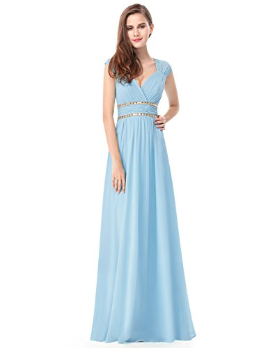 Ever-Pretty Womens Sleeveless Beaded Empire Waist Bridesmaid Dress 4 US Sky Blue