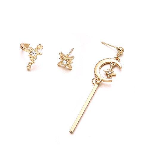 Star Moon Long Vertical Bar Flower Crystal Drop Earrings Women Charm Party Stud Earrings Set Valentines Gift ()