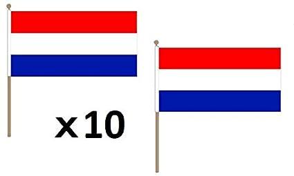 Az Pacco 10 Bandiere Paesi Bassi 45x30cm Con Asta Di Legno