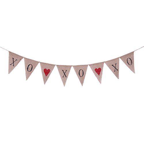 Tinksky Valentine's Day Bunting Banners XOXOXO Letter Pennant Flags Romantic Garland Decorations for Wedding Bridal Shower Proposal Party -