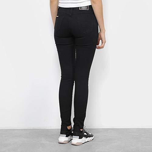 Calça Jeans Skinny Chocomenta Lavagem Escura Cintura Média Feminina - Preto - 42