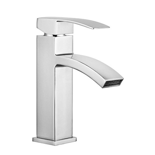 Handles Chrome Waterfall (SARLAI Single Handle Waterfall Bathroom Sink Faucet Mixer Tap, (Chrome Finish))