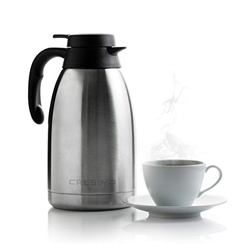 Cresimo 68 Oz Stainless Steel Thermal Coffee Carafe / Double Walled Vacuum Flask / 12 Hour Heat Retention / 2 Liter Tea…