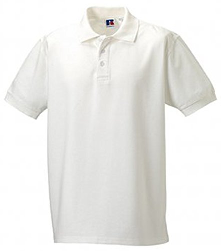 Russell Men's Ultimate Pique Cotton Short Sleeve Polo Shirt White XS