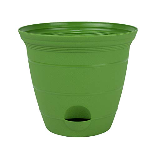 3 Pack 12 Inch Plastic Self Watering Flower Plant Pot Garden Potted Planter, Green