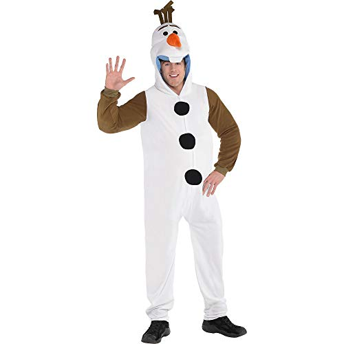 SUIT YOURSELF Frozen Zipster Olaf One-Piece Costume for Adults, Plus Size, Includes a Hood with a Carrot Nose -