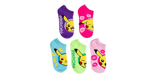 Pokemon 41E80516H60, Girls 5Pk No Shows Socks, Multicolor, Size 6 - 8.5