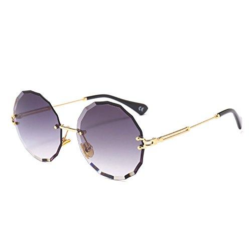 TL Gray mujer Vintage C1 Sunglasses redondo Tonos de sol G445 Reborde gafas sol gafas UV400 señoras Lens gafas Lente C1 gris de RqRFWxrw