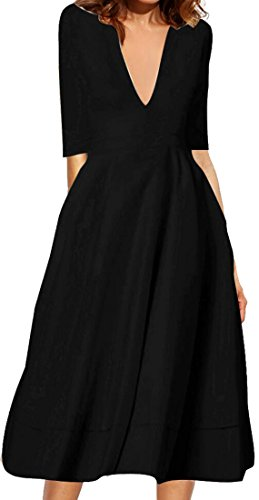 Cruiize Womens Fashion Slim Half Sleeve Sexy Deep V-Neck Solid Midi Dress Black Medium (Solid V-neck Slim)