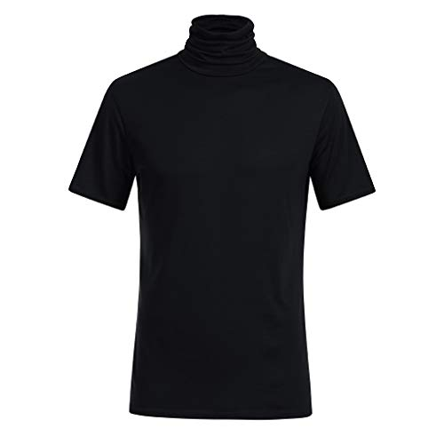 Sunhusing Men's Spring Summer Solid Color Turtleneck Short Sleeve T-Shirt Loose Cozy Blouse Tops Black