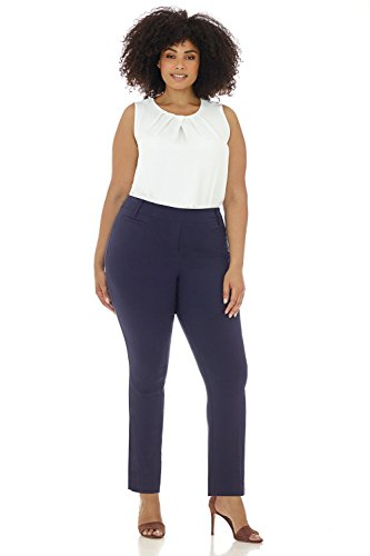 Pants Blue Navy Slacks Dress (Rekucci Curvy Woman Ease in to Comfort Straight Leg Plus Size Pant w/Tummy Control (22W,Navy))
