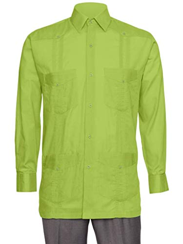 bcc5017869 Gentlemens Collection Mens Linen Look Guayabera Shirt - Long Sleeve Cuban  Shirt Lime 4X