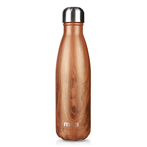 - MIRA Vacuum Insulated Travel Water Bottle | Leak-Proof Double Walled Stainless Steel Cola Shape Portable Water Bottle | No Sweating, Keeps Your Drink Hot & Cold | 17 Oz (500 ml) | Wood