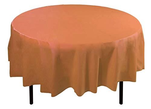 Exquisite 12-Pack Premium Plastic 84-Inch Round Tablecloth, Peach