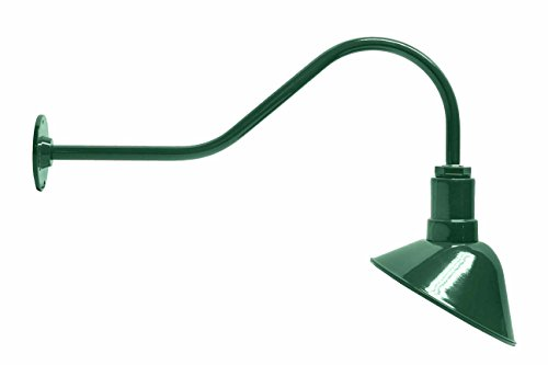Outdoor Landscape Lighting Stem (The ABBA Sign Light | Standard Barn Lighting Shade | 9 Inch Reflector and 23 Inch Gooseneck)