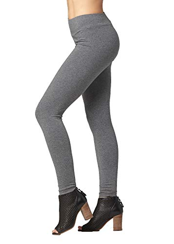 Premium Ultra Soft Stretch High Waisted Cotton Leggings for Women with Yoga Waistband - Full-Length Charcoal Grey - X-Large