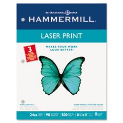 * Laser Print Office Paper, 3-Hole Punch, 98 Brightness, 24lb, Ltr, White, 500/Rm