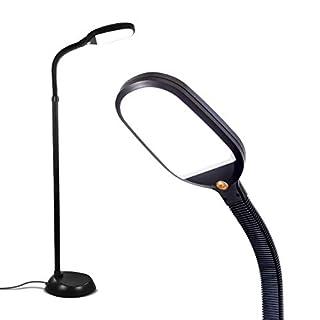 Brightech Litespan - Bright LED Floor Lamp for Crafts and Reading - Estheticians' Light for Lash Extensions - Natural Daylight Lighting for Office Tasks - Adjustable Gooseneck Pole Lamp - Black