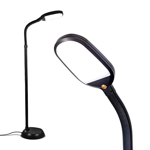 Brightech Litespan LED Bright Reading and Craft Floor Lamp - Modern Standing Pole Light - Dimmable, Adjustable Gooseneck Task Lighting Great in Sewing Rooms, Bedrooms - Black Arm Led Floor Lamp