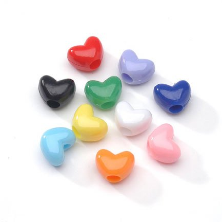Pony Beads 0601-33 Hearts Opaque Multi Color 9mm Big Value (200 Pack), Multicolor