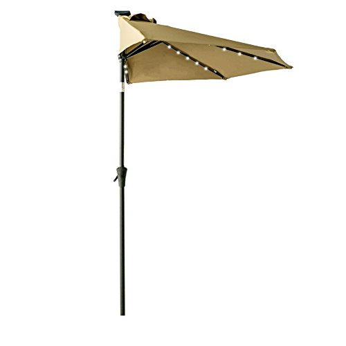FLAME&SHADE 9ft Solar Power LED Half Round Outdoor Market Umbrella with Crank Lift, Push Button Tilt, Beige Review