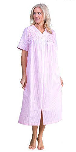 Miss Elaine Plus Seersucker Robes Long Zip Front Smocked Robe in Peach Check (Peach/White Check, 2X)