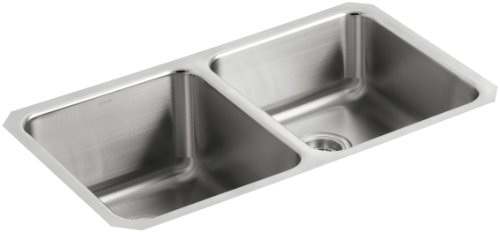 KOHLER K-3351-NA Undertone Double Equal Undercounter Kitchen Sink, Stainless Steel
