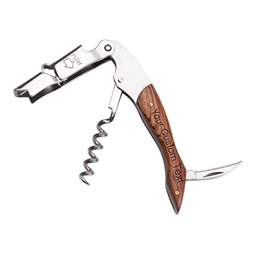 Personalized Custom Engraved Waiters Corkscrew - 3 in 1 Wine Opener with Rosewood Pull Tap Handle Bottle Opener and Serrated Foil Cutter
