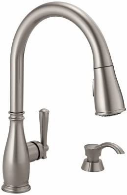 DELTA FAUCET CO 19962-SSSD-DST Stainless Steel Single Pul Kitchen Faucet with Soap Dispenser
