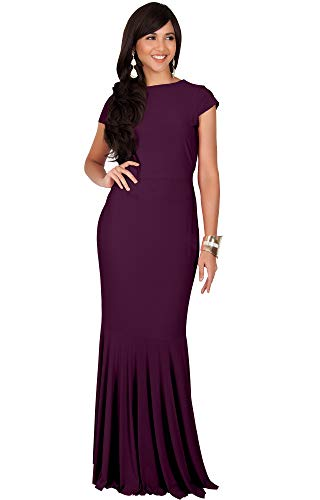 KOH KOH Petite Womens Long Cap Short Sleeve Formal Sexy Evening Prom Cocktail Bridesmaids Wedding Party Guest Tube Flowy Cute Fishtail Gown Gowns Maxi Dress Dresses, Maroon Wine Red S 4-6