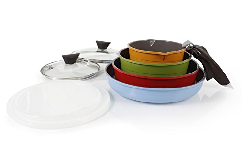 Neoflam Midas 9 piece Ceramic Nonstick Cookware Set with Detachable Handle Multicolored Space Saving